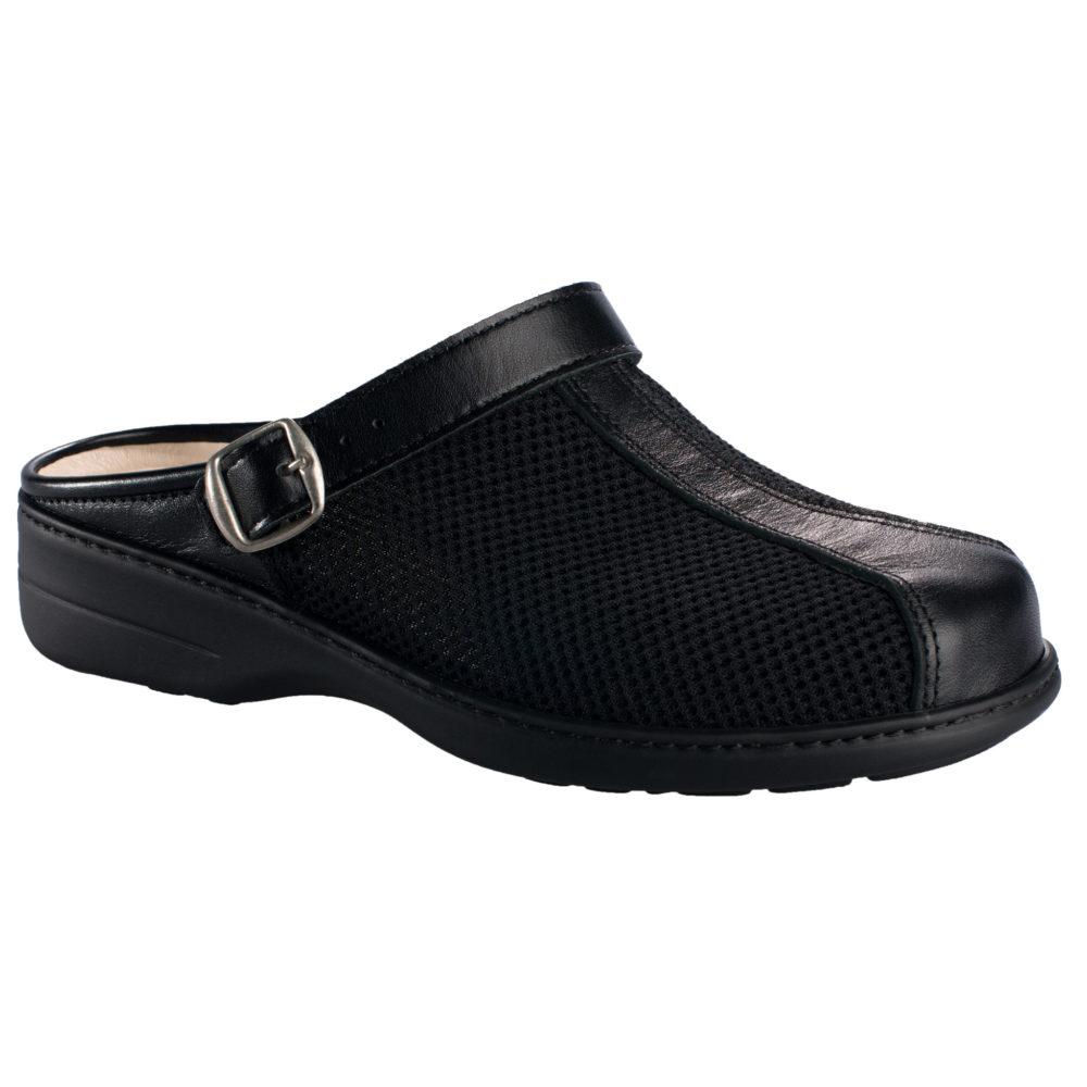 OmaKing tekstiilist pealse ja nahast ninaosaga sandaalid must